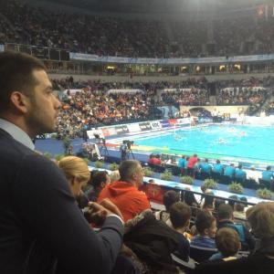 Udovičić na vaterpolo utakmici Srbija - Slovačka