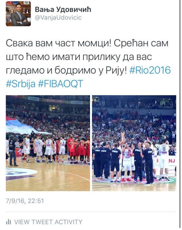 Udovičić čestitao košarkašima