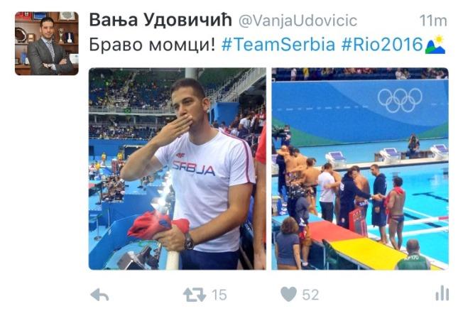 Udovičić sa srpskim sportistima u Riju