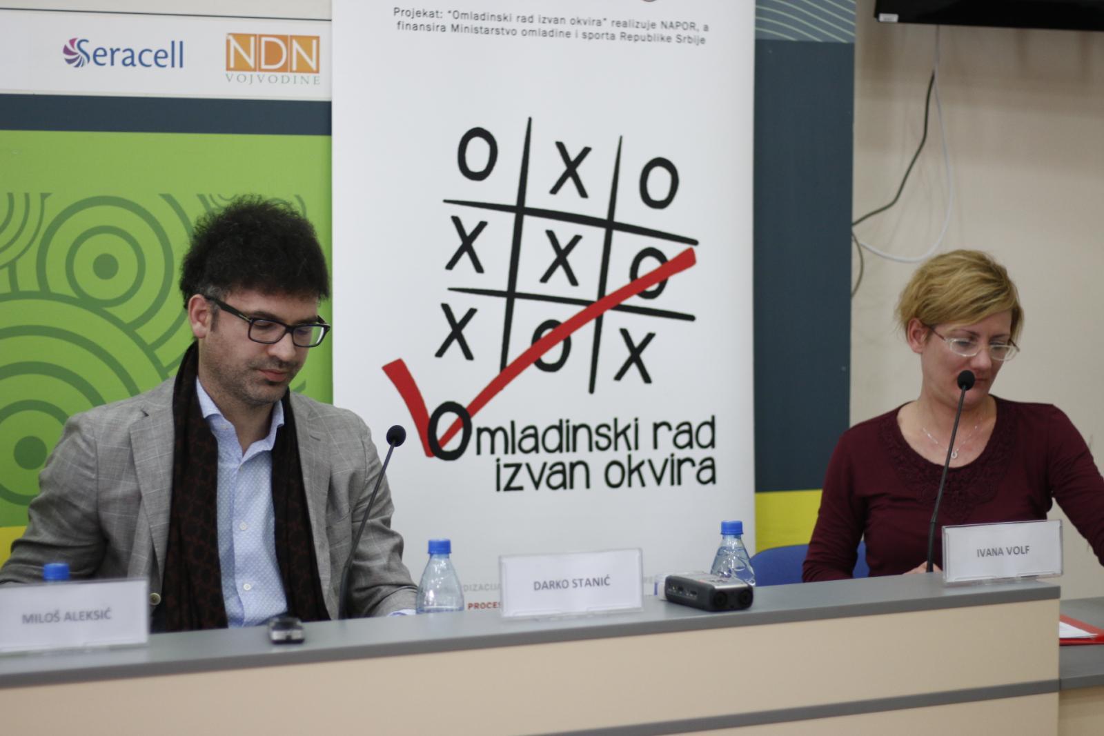 Дарко Станић на конференцији за медије поводом првог хакатона на тему неформалног образовања