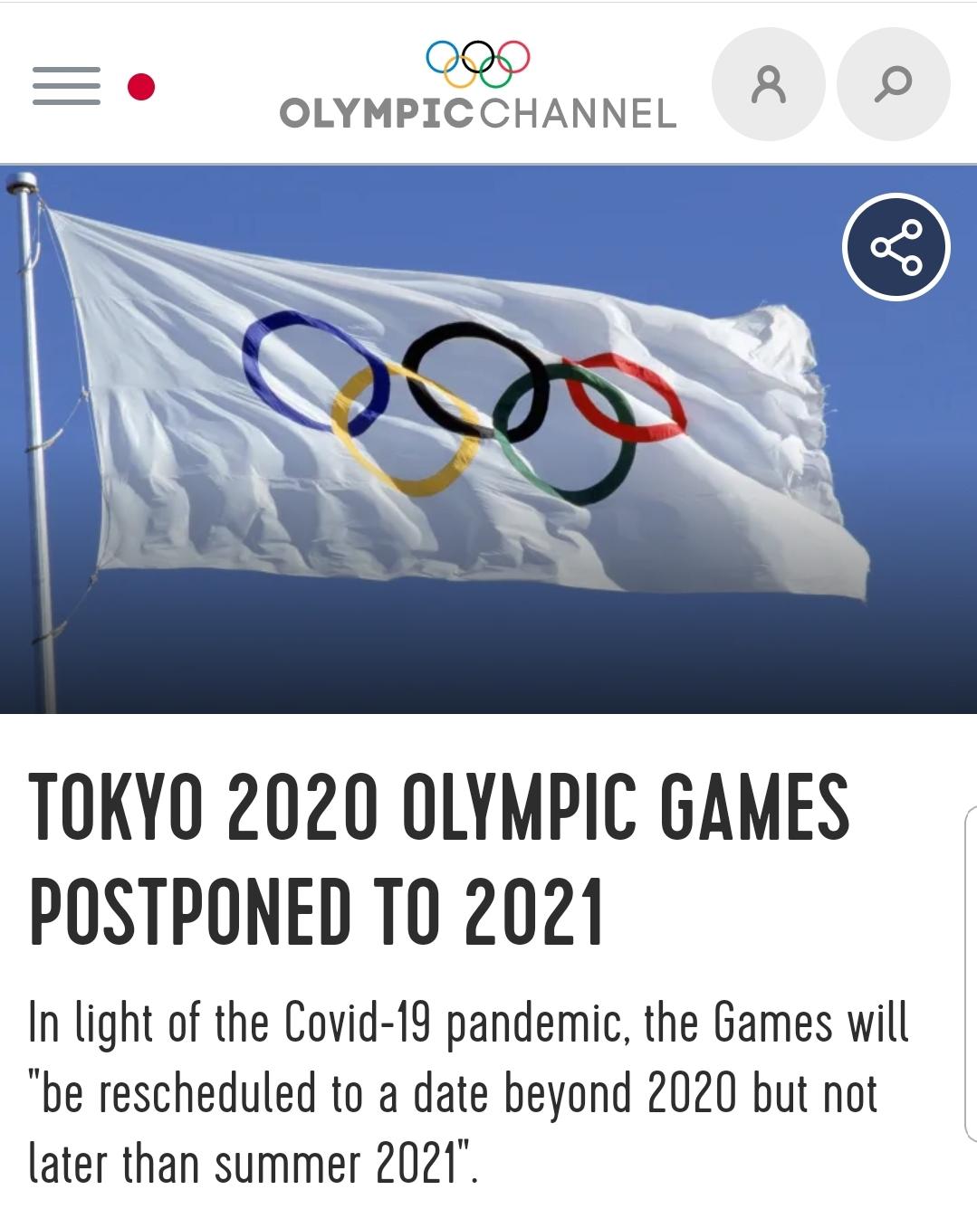 Олимпијске игре у Токију данас су званично одложене за 2021. годину