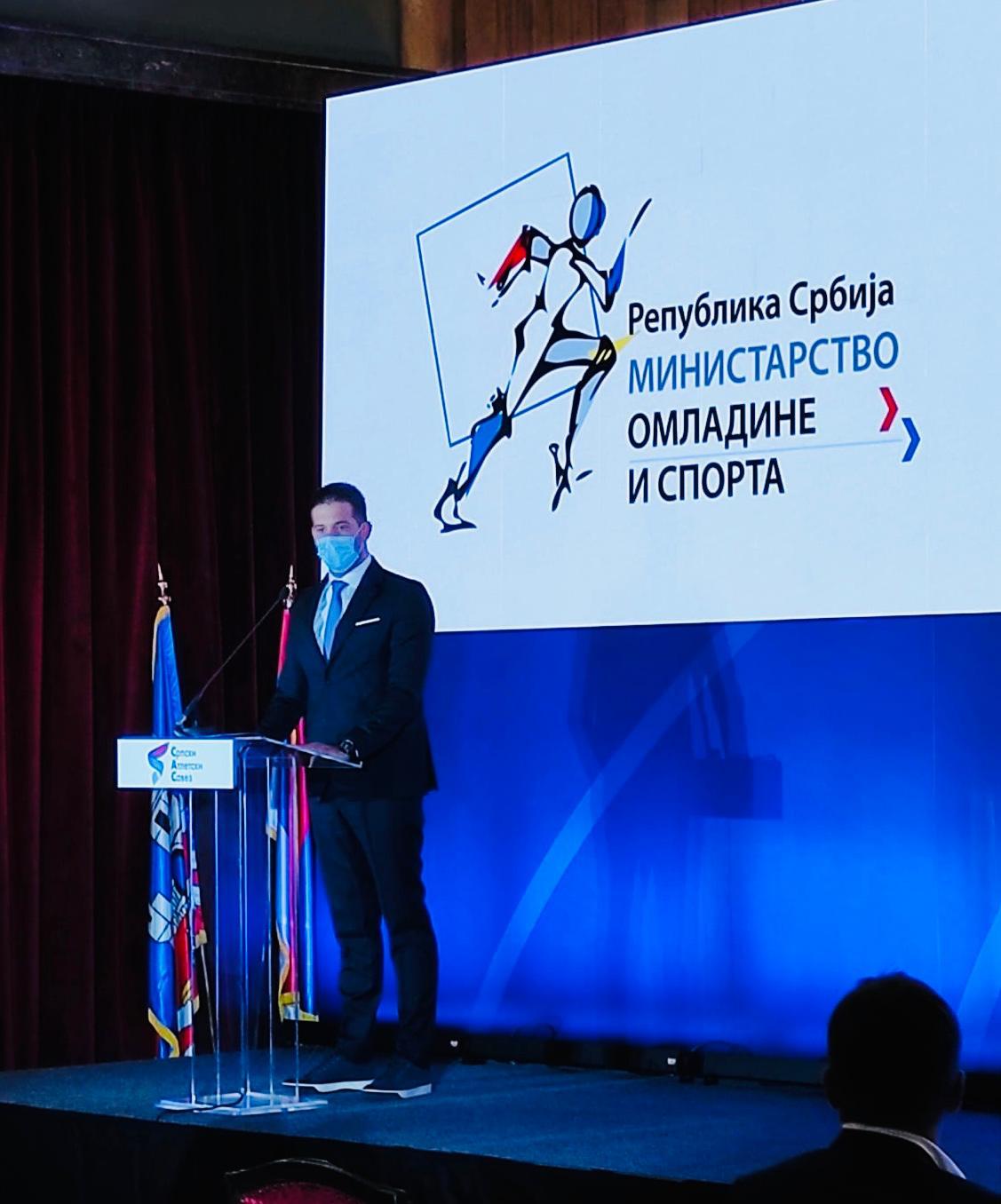 Ministar omladine i sporta Vanja Udovičić  na promociji logoa Svetskog dvoranskog prvenstva u atletici 2022. godine
