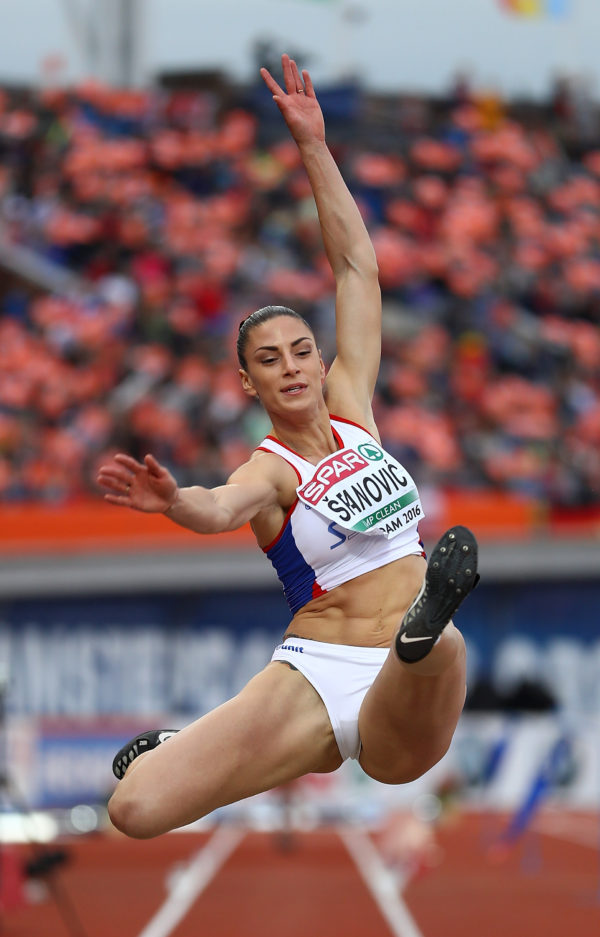 AMSTERDAM, NETHERLANDS - JULY 08:  Ivana Spanovic of Serbia in action during the final of the womens long jump on day three of The 23rd European Athletics Championships at Olympic Stadium on July 8, 2016 in Amsterdam, Netherlands.  (Photo by Dean Mouhtaropoulos/Getty Images)